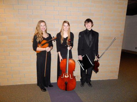 Abbe Grevious - Violin, Kendra Robbins - Cello, and Ezekiel Kenney - Violin,