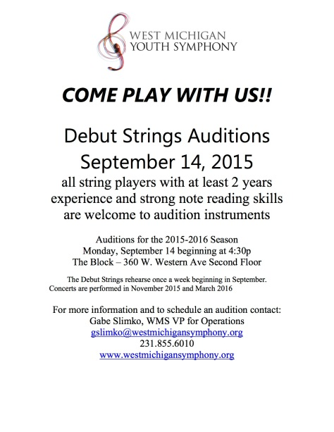 Debut Strings Audition flyer Fall 2015