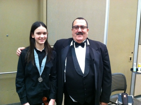 Kelly Avila with 2016 MSBOA Middle School All State Orchestra Director Bob Phillips