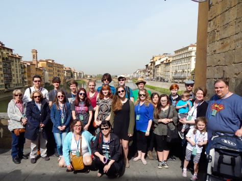 Our group on the Ponte Vecchio over the Arno River in Florence, Italy